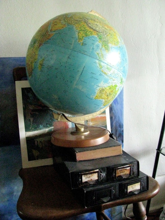 Lighted World Globe Vintage Illuminated Tabletop Replogle Globe 12 inch