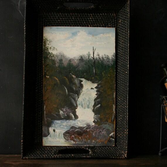 Oil Painting 40s Outsider Art Naïve Art Waterfall Landscape Vintage From Nowvintage on Etsy