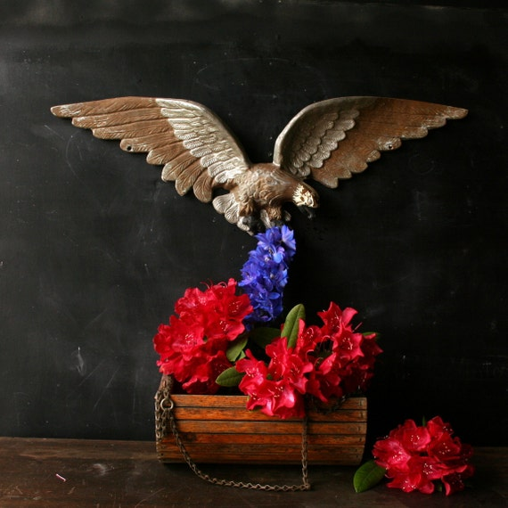 Vintage Eagle Americana Metal Garden and House Folk Art From Nowvintage on Etsy