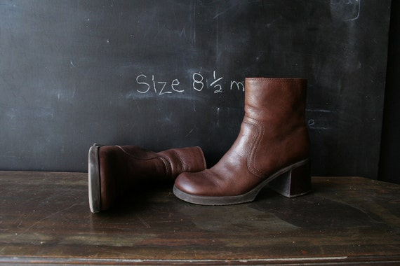 Boots Brown Leather Ankle Heel 8.5   911 From Nowvintage on Etsy