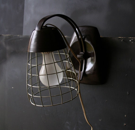 Industrial Cage Lamp Portable And Adjustable Vintage from Nowvintage on Etsy