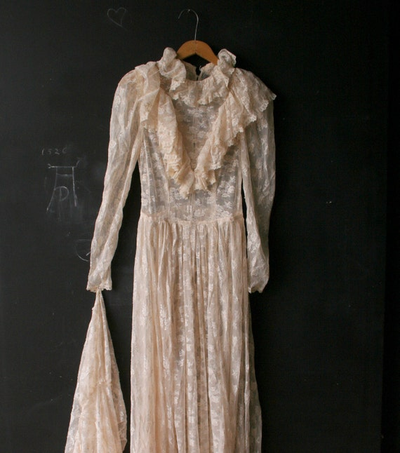 Please Reserve Boho Hippie Wedding Dress 70s Natural Colored From Nowvintage on Etsy
