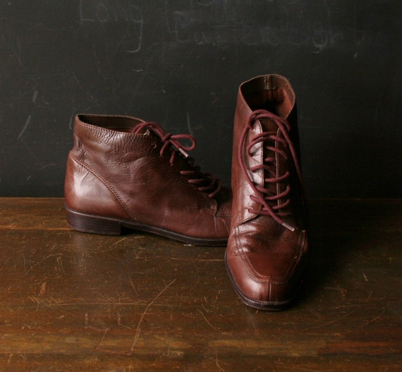 Amalie Granny Leather Ankle Brown Burgundy Women Size 8.5 1258 Vintage from Nowvintage on Etsy