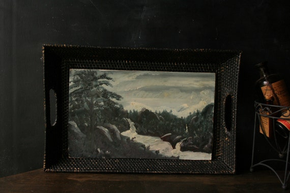 Oil Painting 40s Outsider Art Naïve Art Lake Landscape Vintage From Nowvintage on Etsy