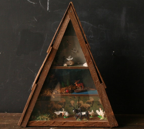 Vintage Diorama in A Frame Display With Deer Goat Geese Vintage from NowVintage on Etsy