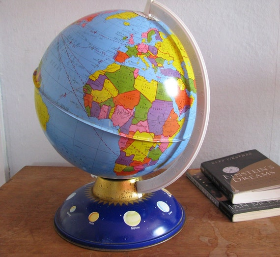 Reserve for jlharvey Globe Metal Colorful with Planets Educational Vintage by NowVintage on Etsy
