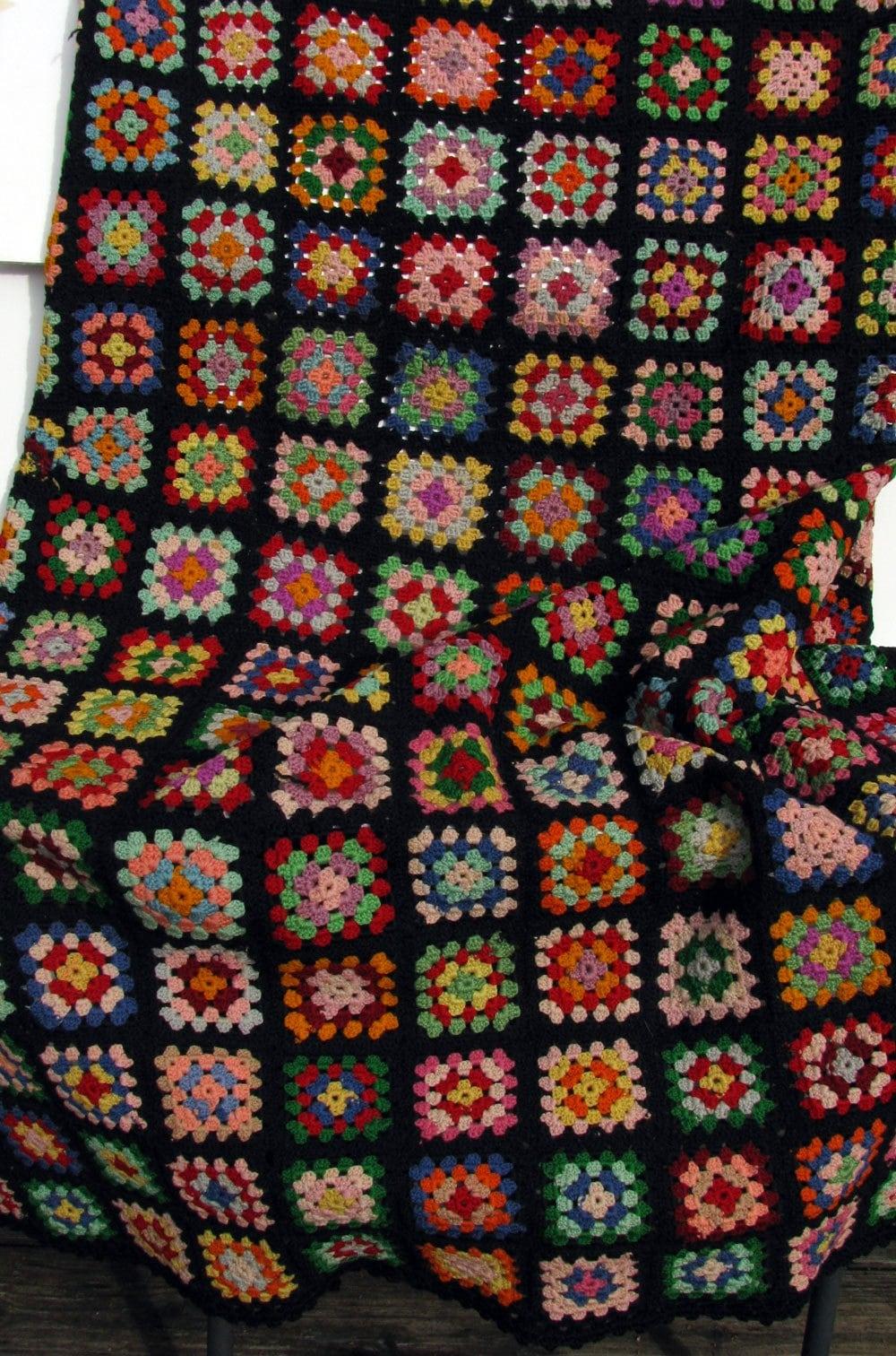 Vintage Crochet Granny Square Quilt Black Bkgrnd