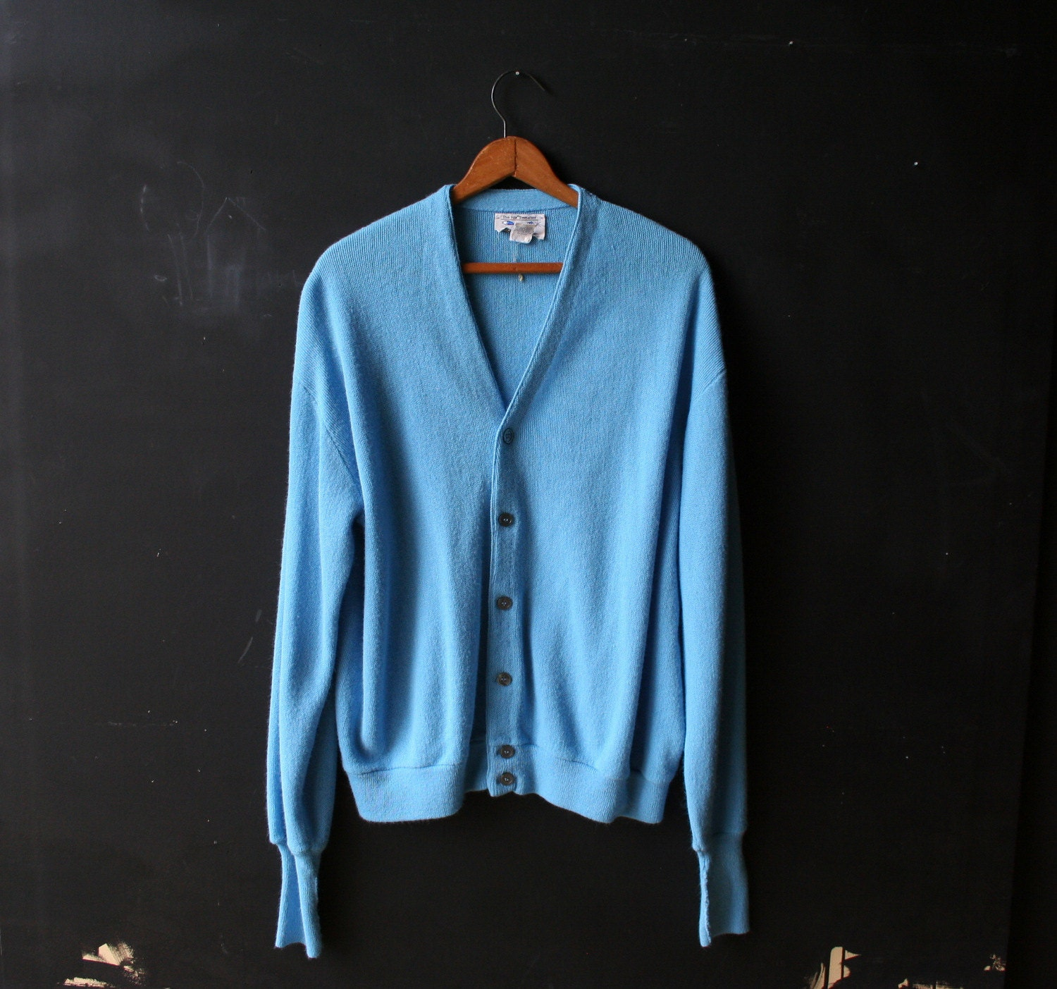 Mens Light Blue Cardigan Sweater - Cashmere Sweater England