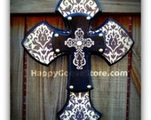 X-Small Wall Cross - Black/Gray Damask with Silver top cross
