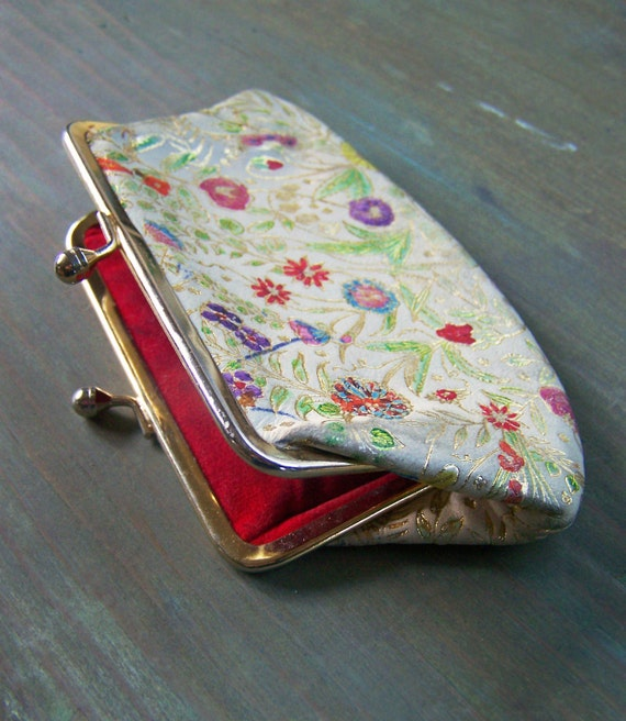 Red-Lined Floral Coin Purse