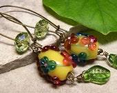 Secret Garden - Green Crystal & Floral Lampwork Glass Art Long Earrings - Coco Scapin Chicago