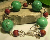 Gumball Turquoise Howlite & Faceted Goldstone - XL Chunky Gemstone Art Bracelet - Coco Scapin Designs Chicago