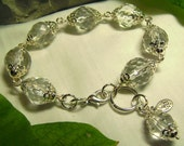 Victorian Ice Crystals - Rock Candy Antique Crystal & Silver Chunky Art Glass Bracelet - Coco Scapin Designs Chicago