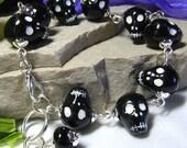 Halloween Zombie Skull Art Glass Bracelet - Coco Scapin Designs Chicago