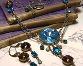 Brass Wrapped Blue & Brown Topaz Glass Jewels - Edwardian Art Necklace Set - Coco Scapin Designs Chicago