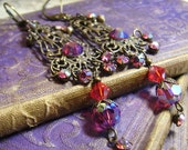 Fuschia Swarovski Crystal And Brass Long Dangle Art Earrings - Coco Scapin Designs Chicago