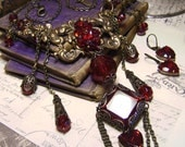 Romance Renaissance - Edwardian Queens Blood Red Ruby Jewel Art Bib Necklace Set - Coco Scapin Designs Chicago