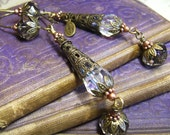 Twilight - Layered Filigree & Crystal Dangle Long Art Glass Earrings - Coco Scapin Designs Chicago