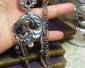 Tanzanite Steampunk Victorian Watch Movement Long Necklace Set - Coco Scapin Designs