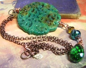 Double Dragons -Carved Jade Giant Statement Pendant Necklace - Coco Scapin Designs Chicago