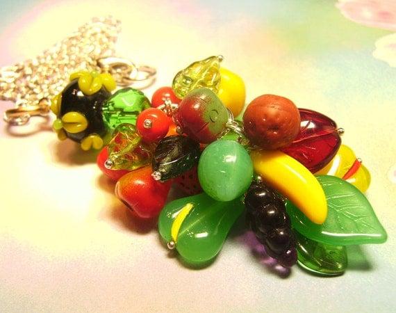 Fruit Salad Carmen Miranda Glass Charm Necklace - Coco Scapin Designs Chicago