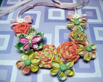 Fabric Flower Bib Necklace PDF Tutorial ...  Includes All 3 Flowers ... SALE