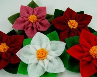 Poinsettia Star Felt Flower PDF Tutorial plus free bonus flower ...  No Machine Sewing