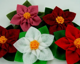 Poinsettia Star Felt Flower PDF Tutorial plus free bonus flower ... NEW ... No Machine Sewing