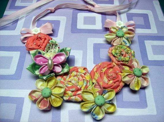 Fabric Flower Bib Necklace PDF Tutorial ...  Includes All 3 Flowers ... SALE