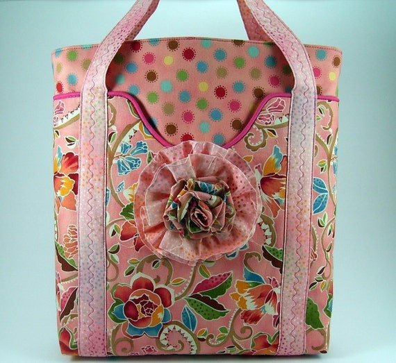Spring Day Tote Bag and Fabric Flower Brooch PDF Sewing Pattern