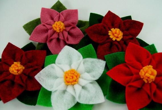 Poinsettia Star Felt Flower PDF Tutorial plus free bonus flower ... NEW ... No Machine Sewing
