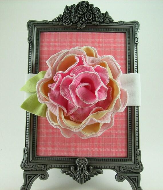 Flower Headband Tutorial: Raspberry Sundae Fabric Flower Headband PDF Tutorial