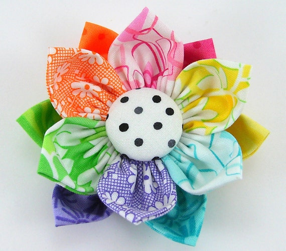 Kanzashi Fabric Flowers Tutorial PDF ...  Flower Pattern no. 5