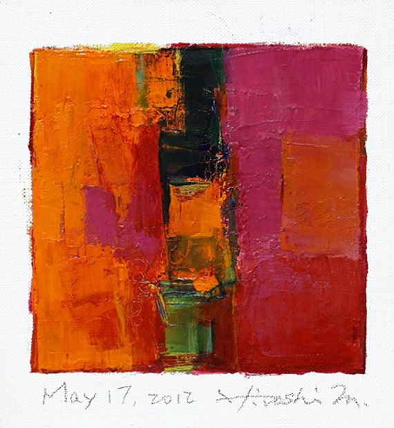 May 17, 2012 - Original Abstract Oil Painting - 9x9 painting (9 x 9 cm - app. 4 x 4 inch) with 8 x 10 inch mat