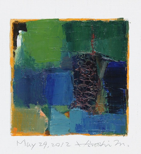 May 29, 2012 - Original Abstract Oil Painting - 9x9 painting (9 x 9 cm - app. 4 x 4 inch) with 8 x 10 inch mat