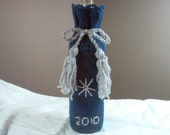 Hand Knit  Dusty Blue and Silver Trim Wine Bag or Cozy - PIF