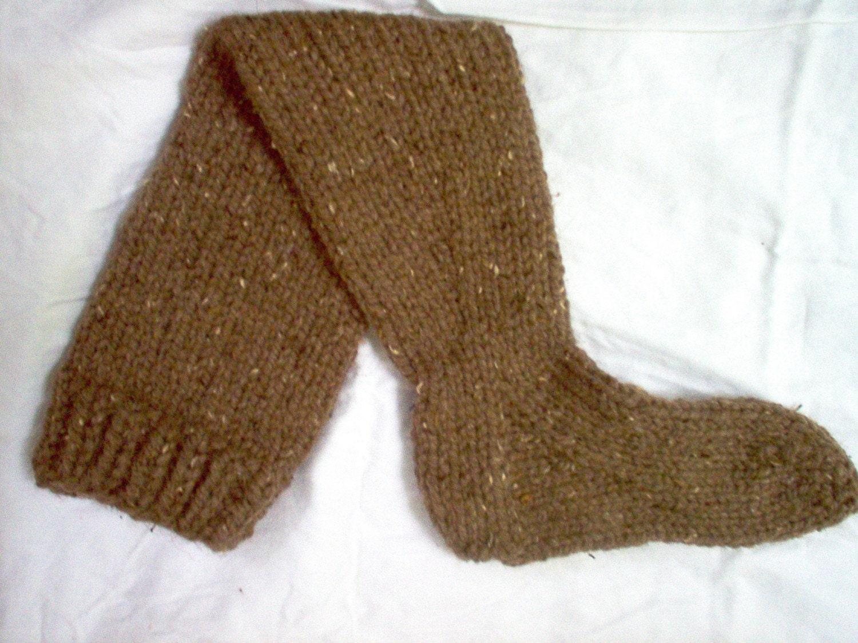 Knitting Pattern Thick Wool Socks : Hand Knit Long Super Chunky Thick Socks Wool Blend Thigh High