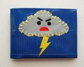 Angry Rain Cloud Bifold Duct Tape Wallet - Blue