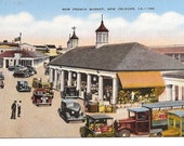 VINTAGE POSTCARD - NEW FRENCH MARKET, NEW ORLEANS, LA.