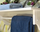 "White 26"" towel bar with 9.25 inch shelf for towels or quilts solid wood pine"
