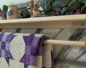 """35.5"""" Quilt shelf with removable rod unfinished pine"""