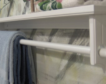 White 24 inch 5.5 deep quilt removeable rod with shelf