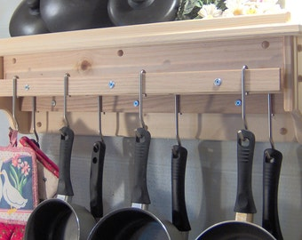 Unfinished raw pot utensil rack holder with shelf for lids wall mount solid pine