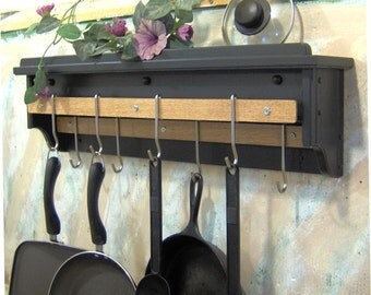 Black Leather painted pot utensil rack holder with shelf for lids nickel wall mount solid pine made in the USA