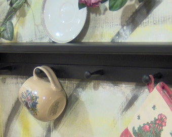 "28"" black wooden shelf for knik knack, plates  pegs made USA"