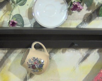 "30"" black wooden shelf for knik knack, plates  pegs made USA"