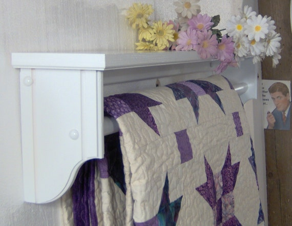 White 36 inch quilt rod with shelf