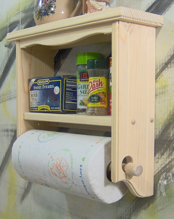 Unfinished spice tea shelf with paper towel nr