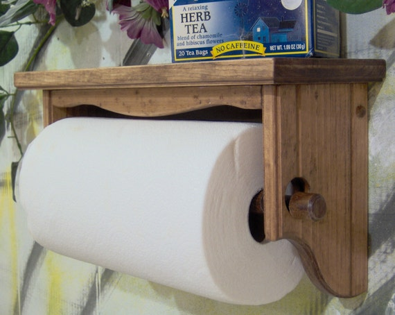 Paper towel holder shelf wall solid wood Early American apron