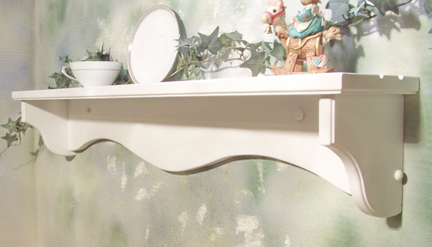 white 36 inch solid wood wall shelf with plate grooves by 89224